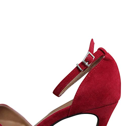 Partito Huatime Punta Sandali A Alto Tacco Caviglia Rosso Moda Alla Cut out Spillo 10cm Scarpe Donna Ragazze Cinturino Camoscio Décolleté EgxYqrwE