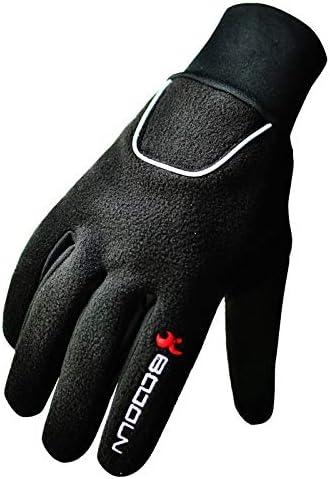 BTXXYJP 男女兼用のスキー手袋の防水および防風の暖かいプラスベルベットの長い指の屋外の暖かい手袋 (Color : ブラック, Size : L)