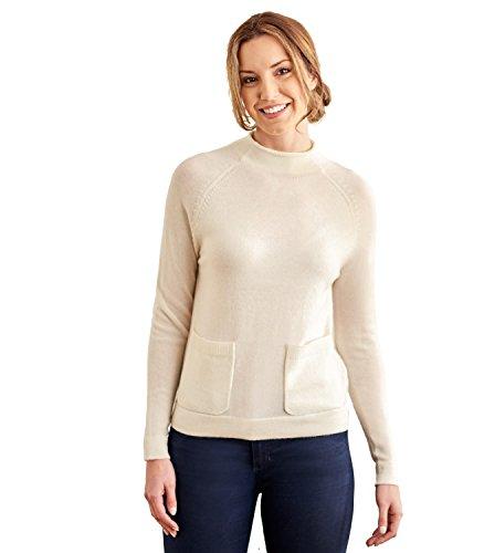 WoolOvers Pull à col cheminée avec poche - Femme - Cachemire & Mérinos Cream, M