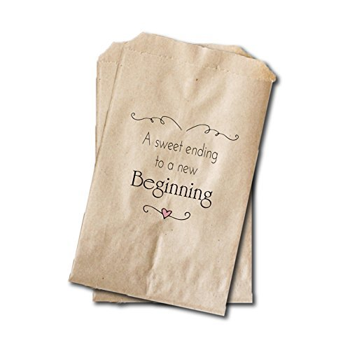"Wedding Candy Bags - Wedding Favor Bags - Engagement Party, Bridal Shower Treat Bags - 6.25"" x 9.25"" - A Sweet Ending To A New Beginning (20 pack)"
