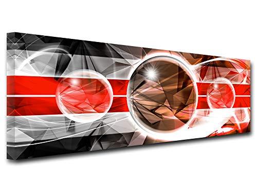 Declina, Cuadro Decorativo de Pared para salon, Lienzo Impreso, Cuadro Decorativo con diseno Abstracto geometria y Relieve, 80 x 30 cm, Color Rojo, Lona, Rojo, 120x50 cm