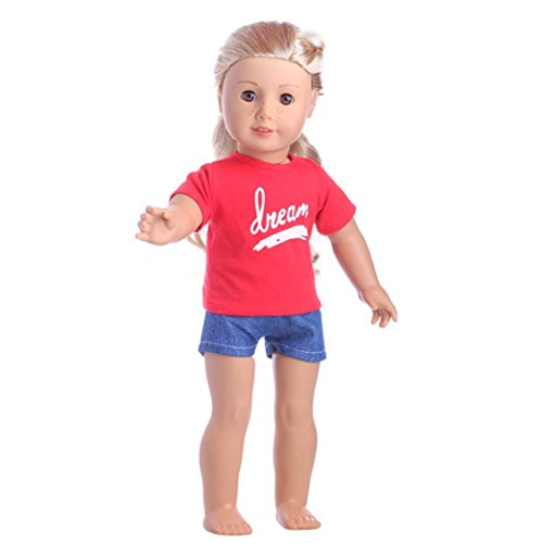 Sportswear Outfit Set for 18 inch American Girl Doll By Coerni (Red)