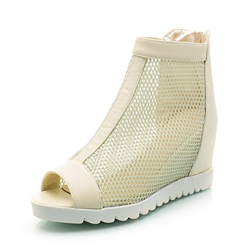 Zipper High Solid Sandals Heeled Beige Women's Toe Peep WeenFashion Soft Material Heels ACU5qw6