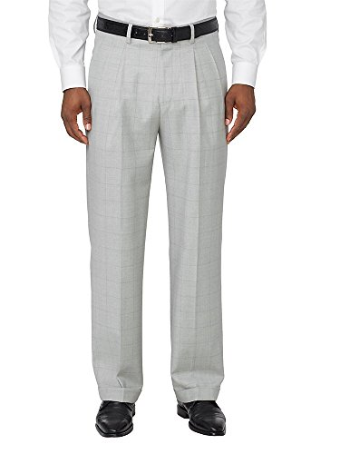 (Paul Fredrick Men's Wool Patterned Pleated Pants Pearl Grey Windowpane 38)