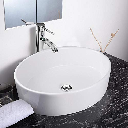 Aquaterior Oval Porcelain Ceramic Vessel Sink + 12 1/2