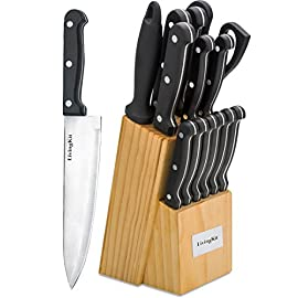 "LivingKit Stainless Steel Knife Set 40 HIGH QUALITY Kitchen Knife Set - Exclusive Taper Grind edge technology provides optimum sharpness for precise cutting and is easy to re-sharpen. We have professional QC team guarantee the quality before the item shipped out BLADES MATERIAL - Knife Blades Are Made From 420 Grade 3Cr14 Stainless Steel. The Following Formula Is A Break Down In The Steel: Around 13% Chromium And 3% Carbon. It Has A HRC Of 52-55 Making Blades Relatively Soft. Triple-rivet POM handles ensure a comfortable, secure grip VALUE SET - 14-piece kitchen knife set includes 8"" chef's knife, 8"" slicing knife, 8"" bread knife, 5"" utility knife, and 3.5"" peeling knife. Also includes 4.5"" Serrated steak knives(6), kitchen shears, sharpener, and wooden block"