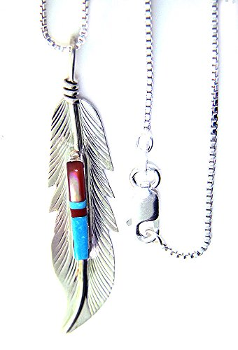 Made in the USA by Navajo Artist F. Barney:Beautiful! Sterling-silver Navajo Feather pendant-necklaces
