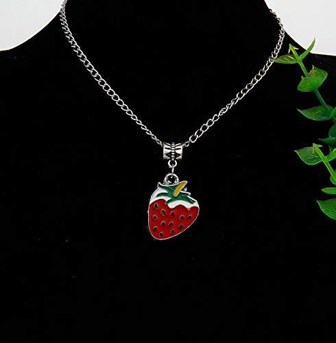 Fashionable Zinc Alloy Drop Glaze Strawberry Charm Pendants | Chain Necklaces | Fashionable Jewelry | for Women, Men (10pcs/lot)
