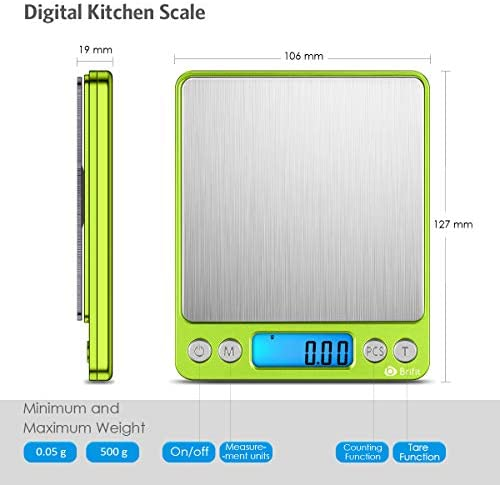 (Upgradaed) Brifit Digital Kitchen Scale, 500g-0.01g Mini Pocket Jewelry Scale, Cooking Food Scale with Backlit LCD Display, 2 Trays, 6 Units, Auto Off, Tare, Stainless Steel (Battery Included) 5