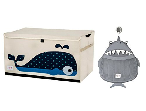 Cute Whale Chest Toy Storage Bin Container and Shark Bath
