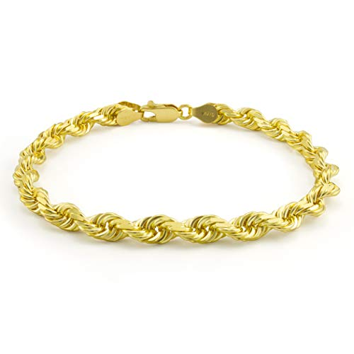 Men's 14k Yellow Gold Solid 6mm Diamond Cut Rope Chain Bracelet, 8