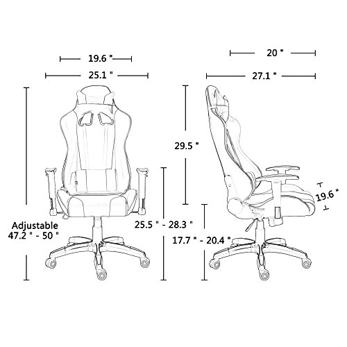 41DXOdjvsbL - Acepro-Gaming-Chair-Executive-Swivel-Ergonomic-Racing-Style-High-Back-Office-Task-Desk-Computer-Chair-with-Headrest-and-Lumbar-Support-Pillow