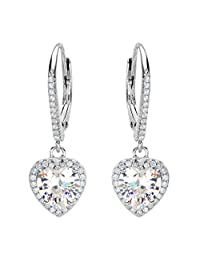 EleQueen 925 Sterling Silver Cubic Zirconia Love Heart Bridal Dangle Leverback Earrings Clear