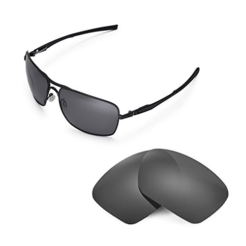 Walleva Replacement Lenses for Oakley Plaintiff Squared Sunglasses - Multiple Options Available (Titanium - - Squared Plaintiff Polarized