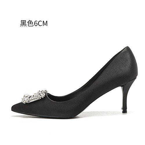 mariée de chaussures femmes Les femelle chaussures femme à Black robe de chaussures soirée Talons HUAIHAIZ de 6CM mariage hauts haut talon rouge Escarpins XIqOnTzZ