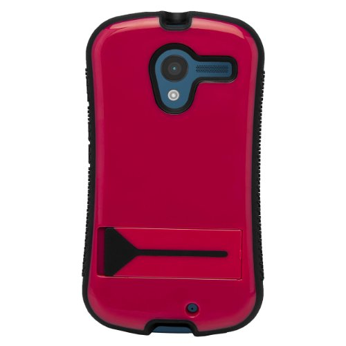 Magenta Hybrid Tough Protective Shield Cover Case with Kick Stand For Motorola Moto X Android OS V4 2.2 (Jelly Bean) + Motorola Moto X Clear Screen Protector + Supertooth Disco Bluetooth Speaker with AUX Cable + an eBigValue Determination Hand Strap by eBigValue (Image #1)