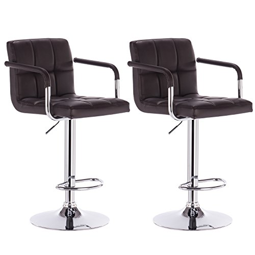 Dark Brown Leather Bar Stool (WOLTU Armrest Bar Stool ABSX1003dbn-c 360 degree Swivel Bar Stool Dark Brown Bonded Leather Bar Stool Adjustable height Barstools Work Sturdy work Place Bar Stools, Set of 2)