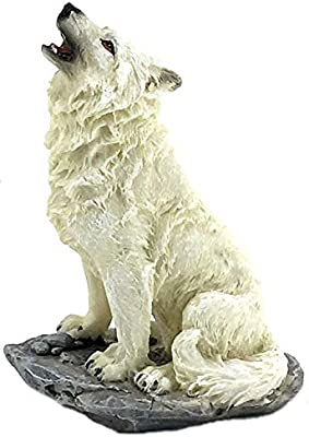 Bellaa 29813 Howling Wolf Statues 8 inch Tall