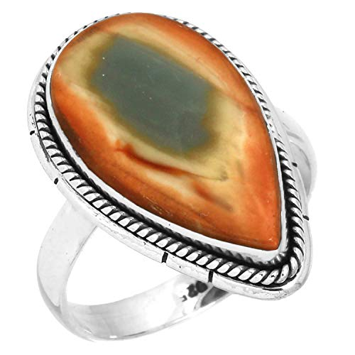 Natural Royal Imperial Jasper (Mexico) Ring Solid 925 Sterling Silver Jewelry Size 7.5