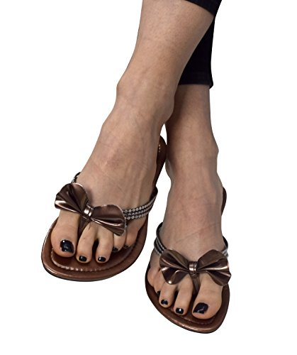 Peach Couture Women's Bow Sequin Embellished Flat Flip Flop Thong Slip on Sandal Brown 8 (Comfy Bow)