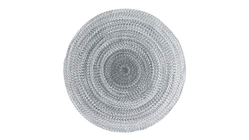 Aztocratic Arizona Granite Collection, 100% Cotton Braided Circular Area Rug, Fully Reversible to Add Durability and Longevity (5 Feets Round, Grey and White)