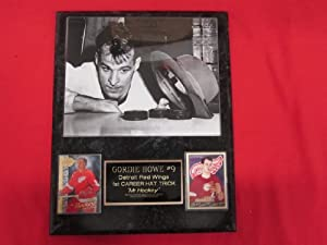 Gordie Howe Detroit Red Wings 1st HAT TRICK 2 Card Collector Plaque w/8x10 VINTAGE photo