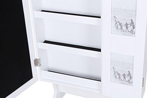 Songmics 154 x 53 x 38 cm Schmuckschrank Spiegelschrank mit galerie bilderrahmen Weiß JBC27W -