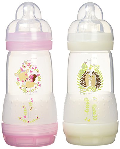 mam-2-anti-colic-baby-bottles-260ml-0-6-months-colour-transparent-pink-with-patterns