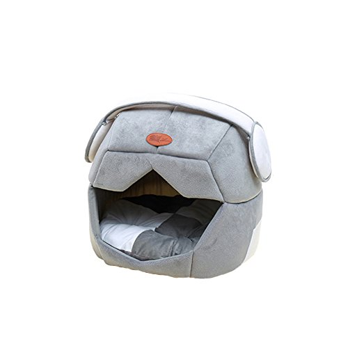Petsidea Soft Space Dog Bed House Kennels with Removable Cushion Inside, Cute Warm Bed Cave for Small Dogs Cats (Grey)