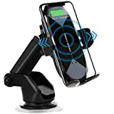HonShoop Wireless Car Charger Mount, 10W/7.5W Qi Fast Charging Auto-Clamping Car Mount Air Vent Windshield Dashboard Car…