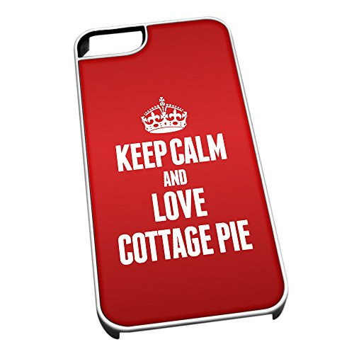 Bianco cover per iPhone 5/5S 0998 Red Keep Calm and Love Cottage Pie