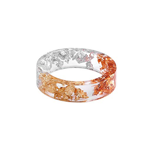 Metallic Resin Jewelry with Gold/Silver/Rose Gold Foil Paper Transparent Resin Ring for Men Women Size 6-