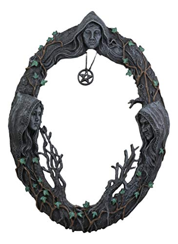 Ebros Celtic Sacred Moon Triple Goddess Mother Maiden Crone Wall Hanging Mirror with Pentagram Amulet Pendant Plaque Decor 17
