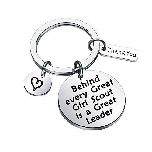 CHOROY Girl Scout Leader Gift Behind Every Great Girl Scout is a Great Leader Keychain Scout Leader Gift Troop Leader Gift (Keychain 2)