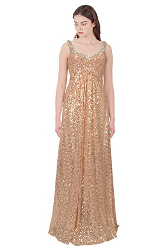 (La Femme Show Stopping Sequin Embellished Evening Gown Dress)