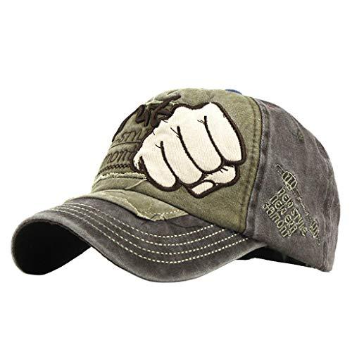Yucode Unisex Sports Baseball Caps Hats Fist Metal Skull Rivets Decor Brown]()