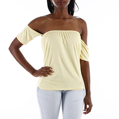 La Modeuse-Camiseta de manga corta, diseño de sujetador amarillo