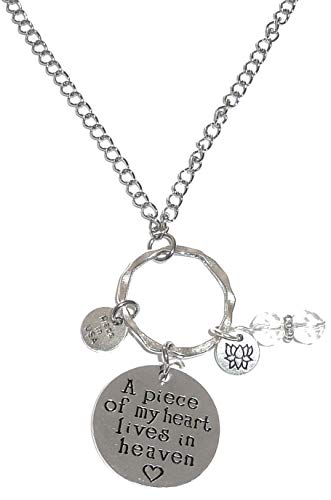 Car Heart Charm - Hidden Hollow Beads Rear View Mirror Car Charm Ornament, Sun Catcher, Hanging Pendent, Stainless Steel Chain. Comes in a Gift Box (A Piece of My Heart Lives in Heaven)
