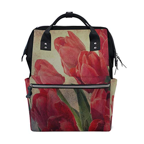 Rose Red Beauty Flowers Flora Large Capacity Diaper Bags Mummy Backpack Multi Functions Nappy Nursing Bag Tote Handbag for Children Baby Care Travel Daily Women Diaper Bag Rose Circles