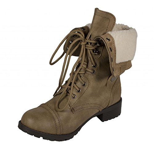 Lustacious Women's Mid-Calf Lace Up Military Combat Foldable Faux Shearling Fur Boots, light taupe leatherette beige lining, 8 M US (Cuff Shearling Boots)