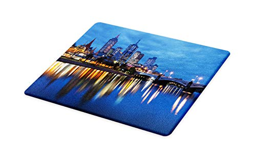 - Lunarable Australia Cutting Board, Skyline of Melbourne City with Reflections on Water at Night with Dramatic Sky, Decorative Tempered Glass Cutting and Serving Board, Large Size, Multicolor