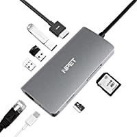 NPET 8-in-1 USB C Hub Adapter with Ethernet, MicroSD/SD Card Reader