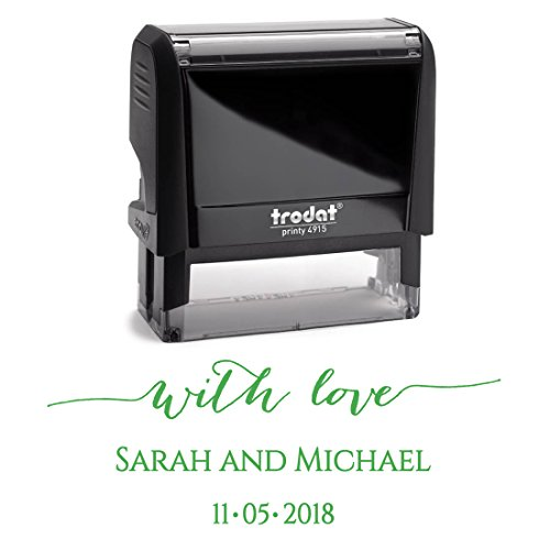 Green Ink, Custom Self Inking Return Address Stamp Personalized – Perfect Family, Business, Real Estate, Housewarming, Wedding, Teacher Client, or Christmas Gift by Pixie Perfect Stamps