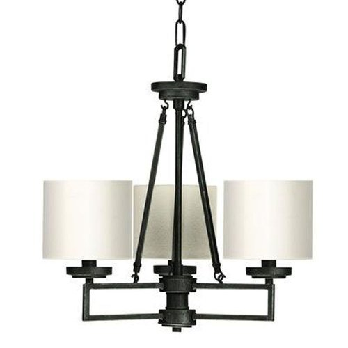 Iron Linen Shade - CAL LIGHTING FX-3507/3 60-watt X 3 Duray Hand Forged Iron 3 Light Chandelier with Linen Shade by Cal