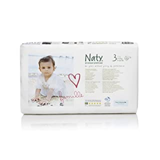 Naty by Nature Babycare Eco-Friendly Premium Disposable Diapers for Sensitive Skin, Size 3, 2 packs of 52 (104 Count) (Chemical, chlorine, perfume free)