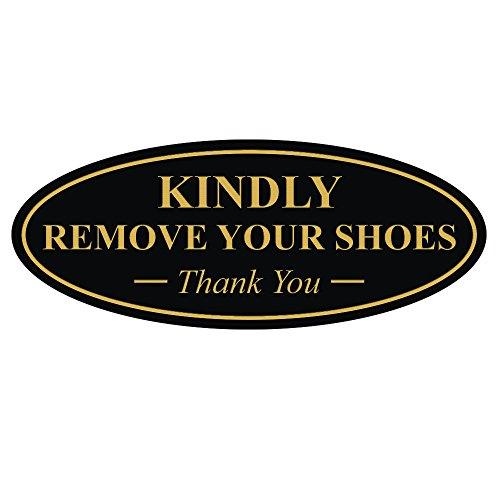 Oval KINDLY REMOVE YOUR SHOES Thank You Sign - Black / Gold (Gold Oval Shaped Accent)