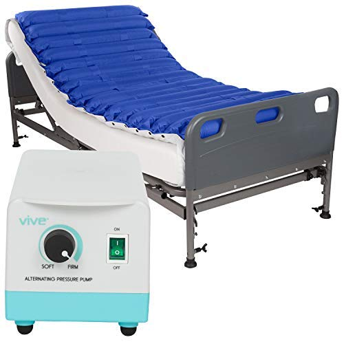 Vive Alternating Pressure Mattress 5'' - Air Topper Pad for Bed Sore, Ulcer Prevention, Bedridden Treatment - Inflatable, Quiet Alternative Cover - Fits Hospital Bed - Includes Electric Pump System by Vive