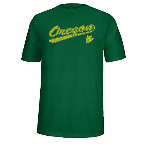 U Of O Ducks (NCAA Oregon Ducks Men's School Name Script Tail Logo Choice Tee, Green,)