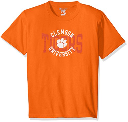 - Champion NCAA Youth Boys Shirt 100% Cotton Tagless Tee, Clemson Tigers, Small