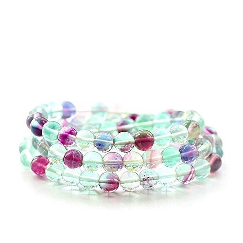 Jan Dee Natural Genuine Semi-Precious Multicolour Fluorite Multi Ring Crystal Bracelet Prayer Beads 8mm (Multi Crystal Fluorite)